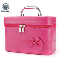 The New Portable Cosmetic Bag Fashion Bowknot Cosmetic Case Cosmetics Storage Box