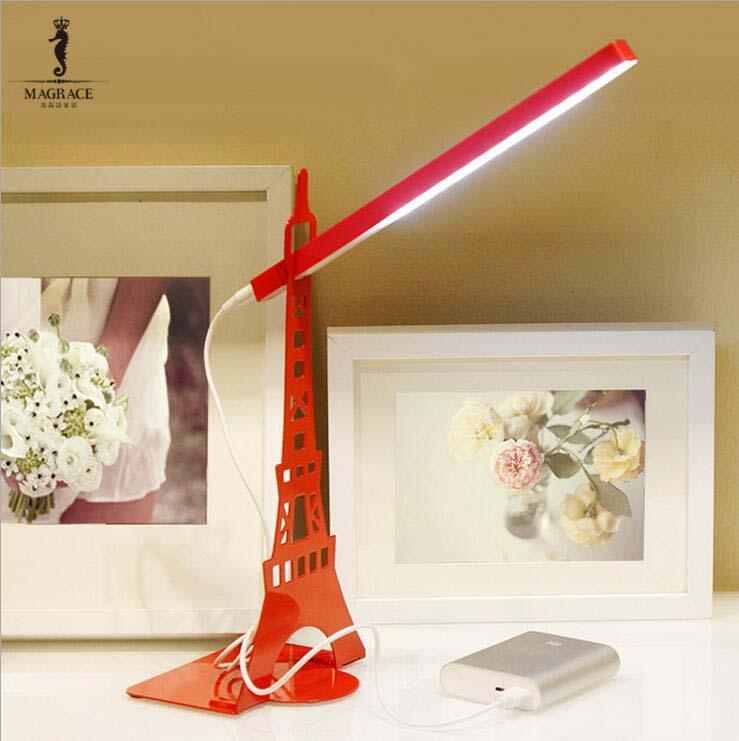 Flexible Modern Eiffel <font><b>Tower</b></font> Reading Lamp with Bookshelf Touch Dimmer USB Led Desk Lamp For Living Room Bedroom book Lights