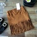 Дети девочки юбка мода цвета хаки кисточкой подол юбки 2 - 7 лет малыша одежда для девочек