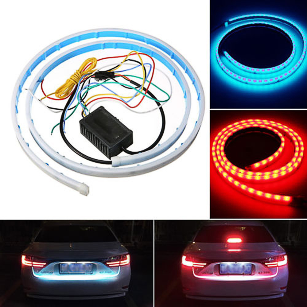 Ice Blue Red Flexible LED Strip Flowing Rear Trunk Tail Light Dynamic Streamer Brake Turn Signal Reverse Warning Flash Lights d24 varta blue dynamic 60 ач москва