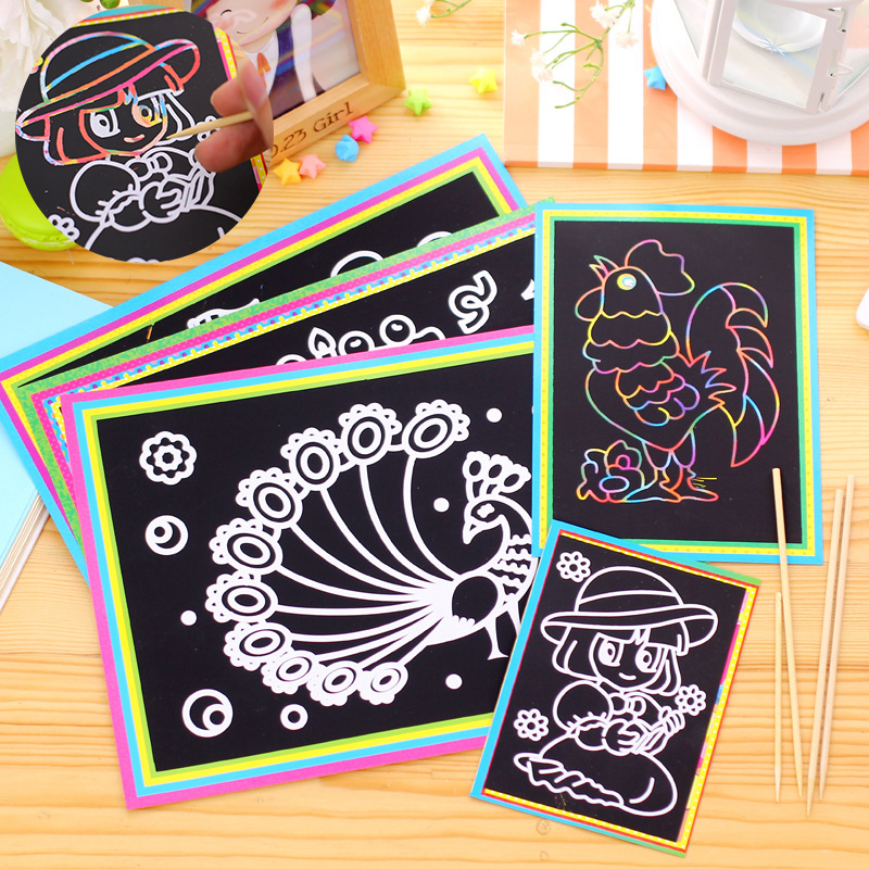 10 Pcs Scratch Art Paper Magic Painting Paper Doodle With Drawing Board Stick For Kids Toy Colorful Drawing Toys Birthday Gift