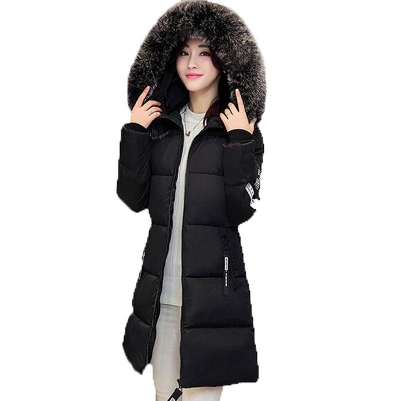 Fashion Faux Fur Collar Long Slim Warm Women Cotton Coats Hooded Jacket Coat Snow Wear Parkas Outwear Winter Jacket RE0003 women winter fashion warm down jacket hooded cotton long fur collar slim women thick parkas coats zipper ladies outwear parkas