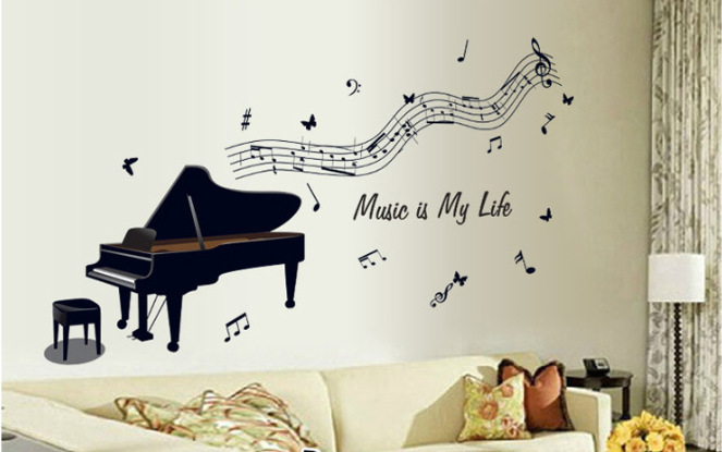 Piano Black Rhythm Music Note Wall Stickers Removable Vinyl Wall Decal Music Room Decorations Wall Art Decals Am7076
