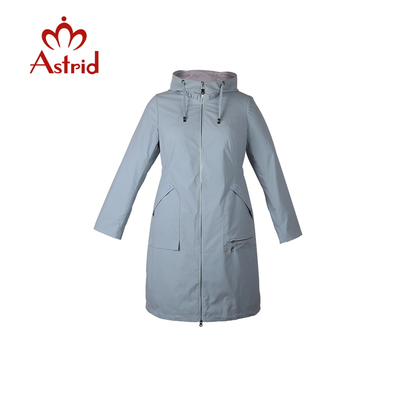 Astrid 2019 new women trench coat Spring long Hooded Solid color Coat Lightweight Casual lady s