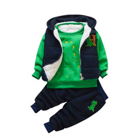 Baby winter suit 3 pieces boys sport tracksuit male 0 1234 years old infant children cartoon dinosaur warm suit for the boy