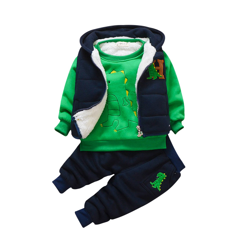 купить Baby winter suit 3-pieces boys sport tracksuit male 0-1234 years old infant children cartoon dinosaur warm suit for the boy недорого