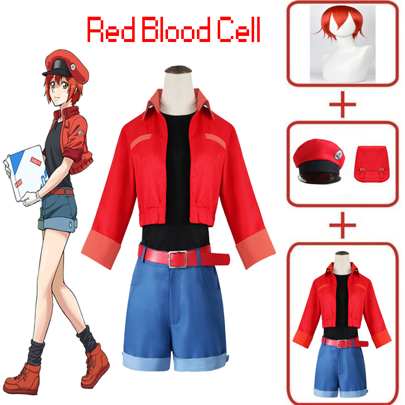 Full Set Cells At Work Erythrocyte Red Blood Cell Cosplay Costume Red Blood Cell Hataraku Saibou Women Halloween Cosplay Outfits