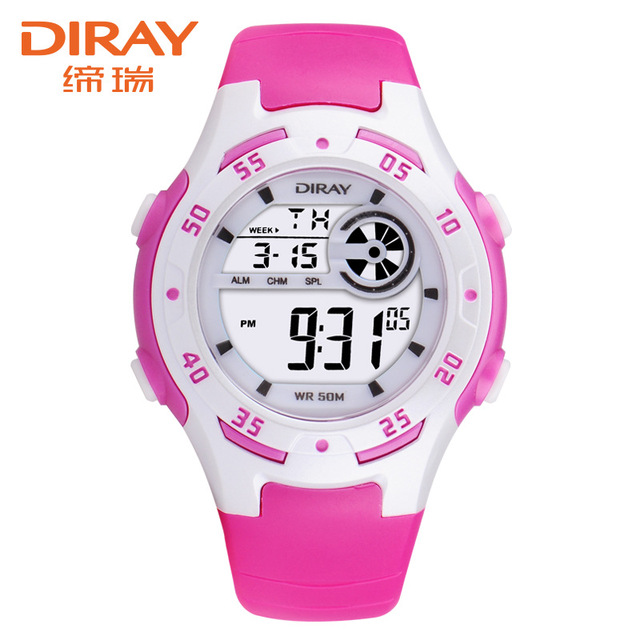 DIRAY Wrist Watch Children Waterproof Silicone Digital Watch Kids Fashion LED Sp