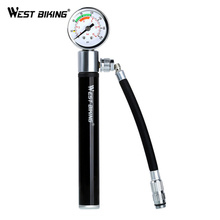 WEST BIKING Black Portable Bike Air Pump Mini Pressure Gauge Presta Schrader for Bicycle Ball Tire Inflator Cycling Pumps