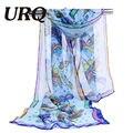 Pañuelo de gasa de impresión abstracta patrones bufanda de seda de la señora del diseño de marca de primavera y verano de las mujeres del cabo del mantón cachecol feminino 2017