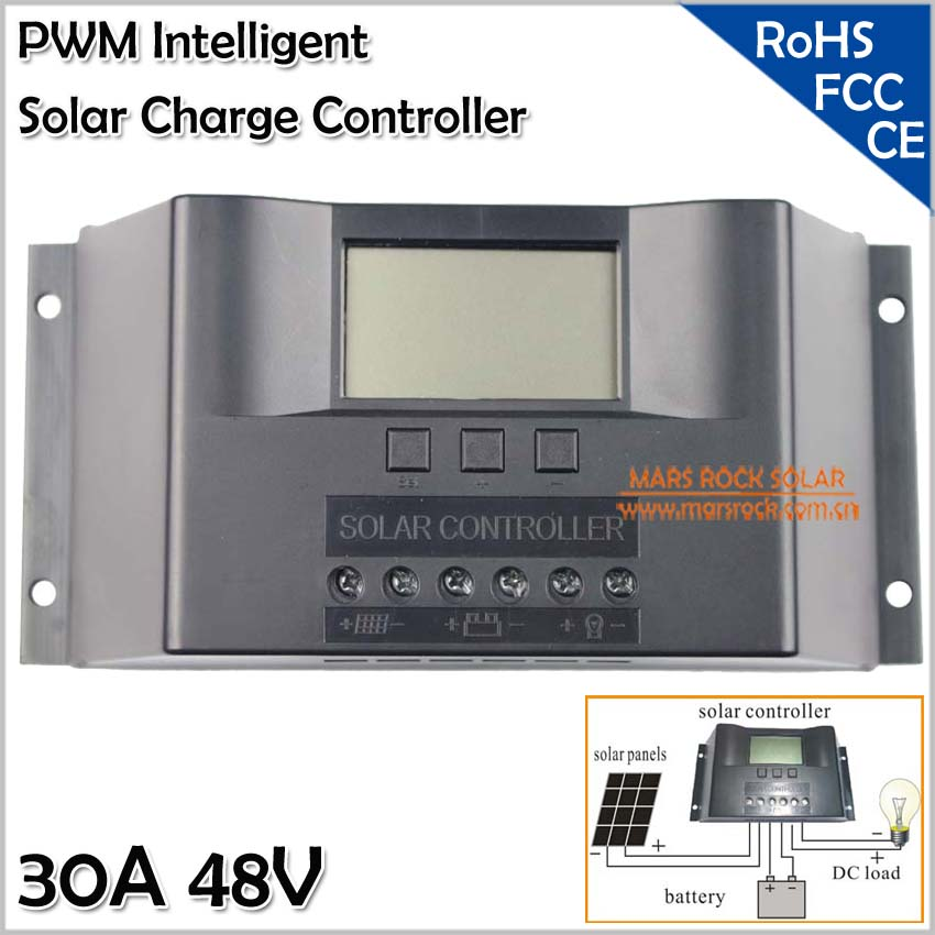 Solar Charger Controller 30A 48V, 30A Solar Controller with LED Display, Intelligent PWM Solar Regulator, Multi Protection