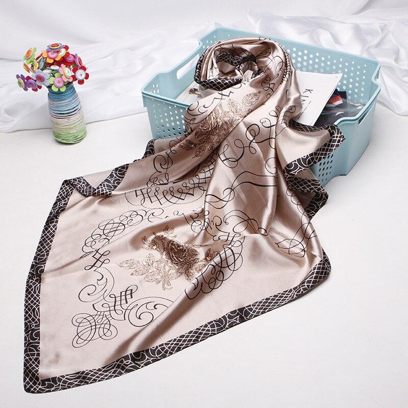 Fashion Kerchief Hair Scarf For Women Print Silk Satin Hijab Scarfs 90*90cm Square Shawls Wraps Headband Scarves For Ladies 2019