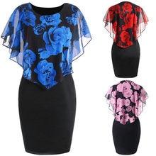 a5b0f6df905bbe Sleeveless Women Lace Floral Dress Round Neck Ladies Plus Size Chiffon Dress  XL-5XL Rose Valentine Overlay Dress