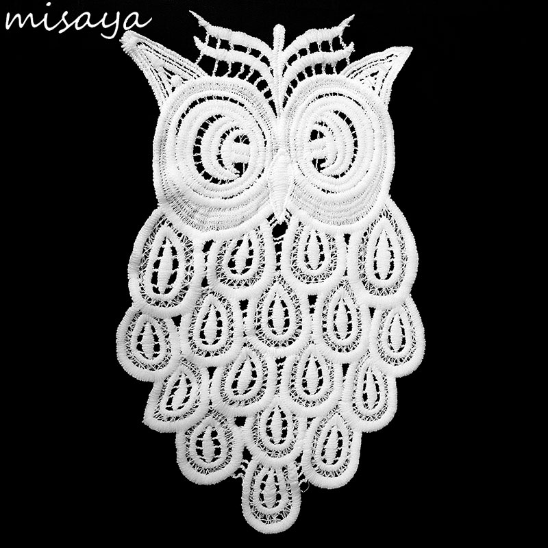 Misaya The Owl Embroidery Lace Handmade Colthes Patch 100% Cotton DIY Manual Owl Shape Sewing Supplies Lace Trim Crafts