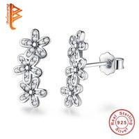 BELAWANG 925 Sterling Silver Dazzling Daisies Flower Stud Earrings Clear CZ Fashion Earring For Women Wedding