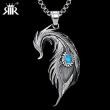 RIR Hot Sell big size Popular Stainless Steel angel Feather Pendant Necklace Stainless Steel Fashion Jewelry For Men And Women