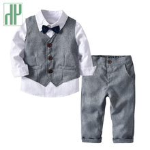 Toddler boy clothes gentleman suit kids wear Long Sleeve white shirt+Pant+Vest 3pcs/set children clothing set baby boy dress цена