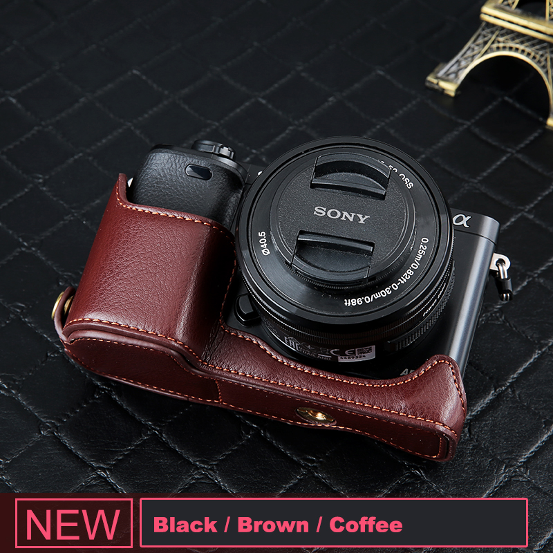 A7R II A7S II Durable Full Body Camera PU Leather Case Bag with Strap for Sony A7 II Color : Black