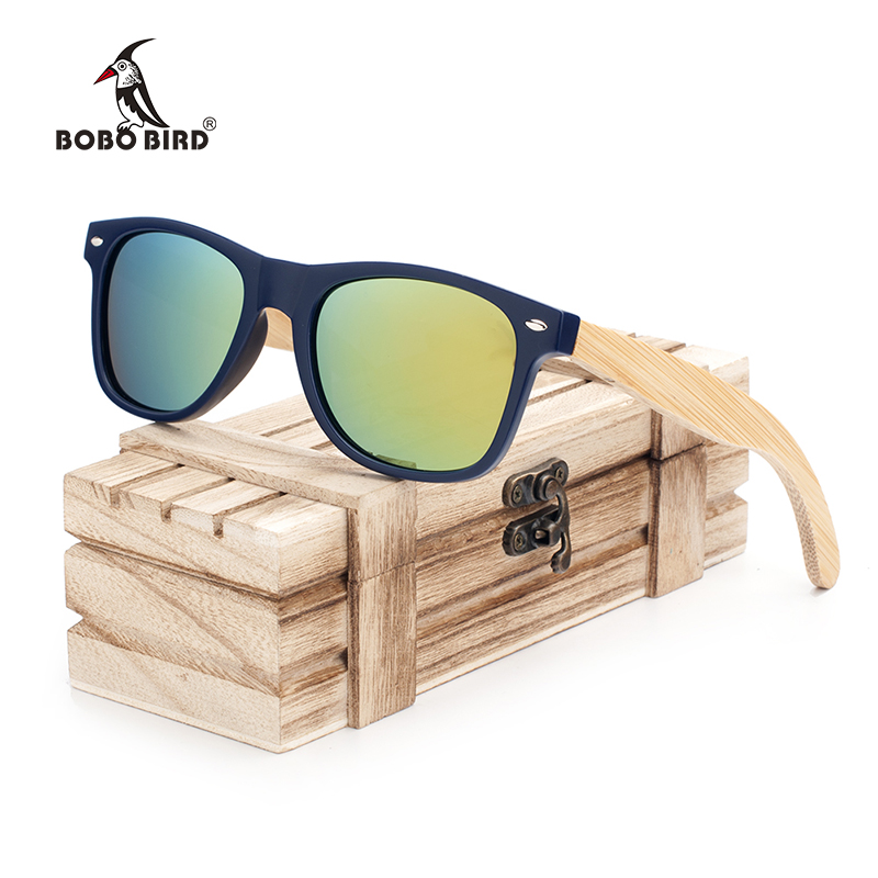 BOBO BIRD New Women Fashion Coated Polarized Bamboo Wood Holder Sun Glasses With Retail Wood Case