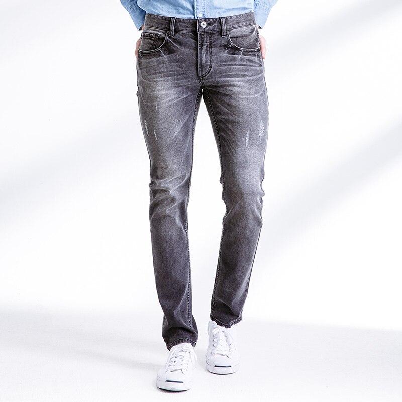 New Autumn Winter Jeans Men Causal Slim Fit Cotton Trousers Denim Pants Fashion Hole Jeans Men Brand Clothes