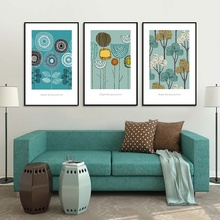 Nordic Minimalist Abstract Small Fresh Flowers and Plants Painting Modular Canvas Wall Pictures for Living Room Home Decoration