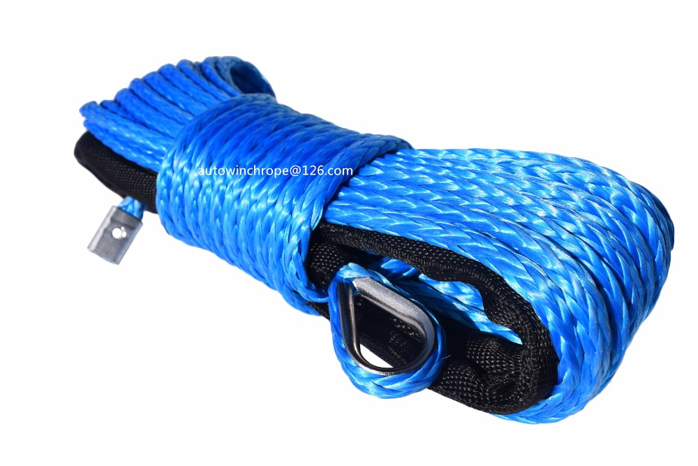 Blue 6mm*15m Synthetic Winch Cable Rope,1/4 UHMWPE Rope for Auto Parts,Kevlar Winch Cabl ...
