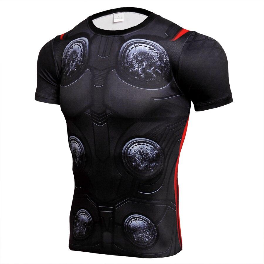 Avengers THOR 3D T-shirt Da Uomo di Compressione Manica Corta Fitness t-shirt Costume Cosplay Quick Dry Crossfit Magliette e camicette Vestibilità Maschile Panno