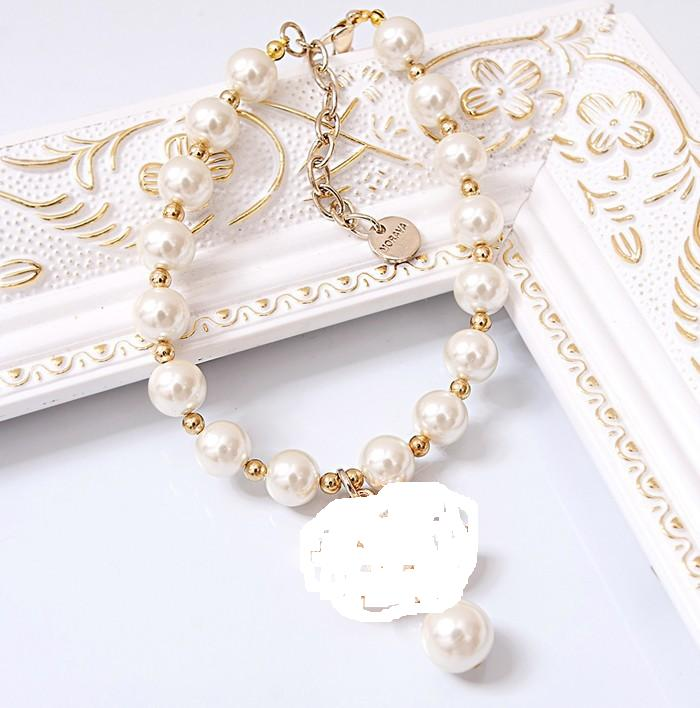 Free shipping dog accessories Adjustable luxury big pearl necklace jewelry sparkly perros mascotas accesorios pet cat