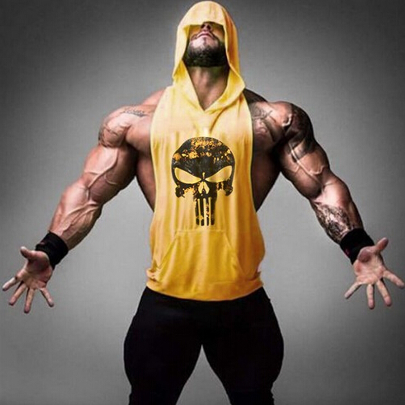 683152af008ec Men Skull ZYZZ Gold Bodybuilding Stringer Hoodies Stringer Hoodie Fitness  Brand Tank Top Men Clothing Cotton Pullover Hoody