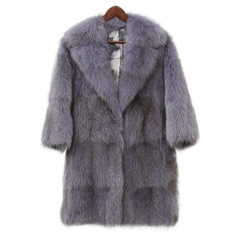 Высокое качество пушистые вся кожа Лисий Меховые пальто Верхняя одежда женщин отложной воротник толстый теплый натуральный мех Куртки 2018 н...