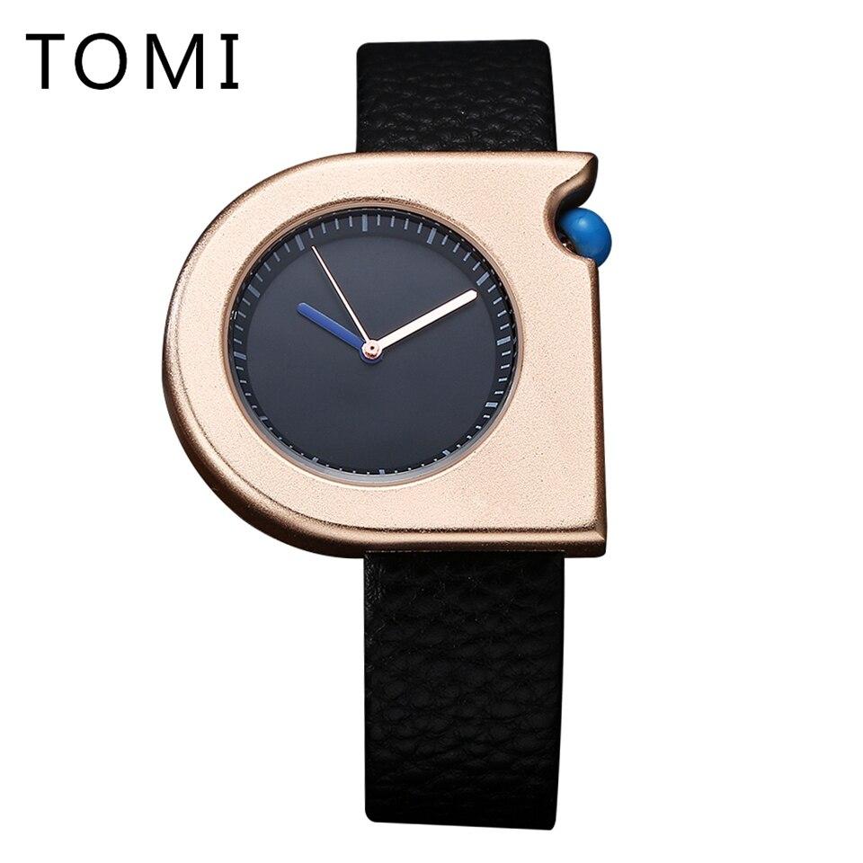 TOMI Unique Stylish Style Fashion Men Wristwatch Ladies Watch Casual PU Leather Bracelet Women Clock Female Quartz Wristwatch astina 0476 women s stylish analog quartz wristwatch w pu band white coffee 1 x 626