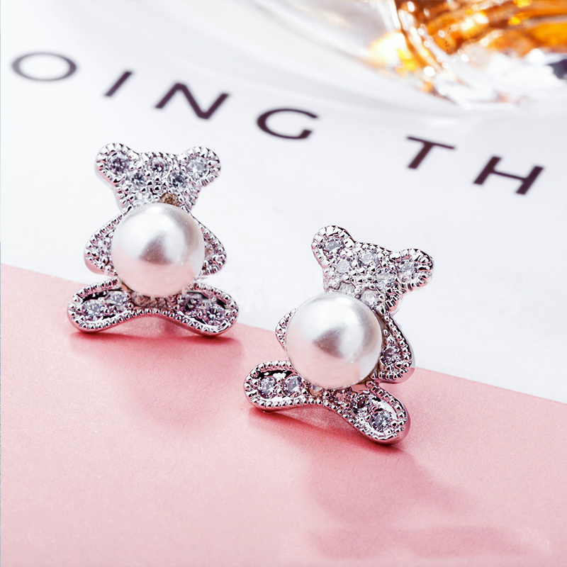 Cute Bear CZ Stone Stud Earrings for women Cubic zirconia Pearl Animal Earrings girls fashion silver color Anti-allergic Jewelry