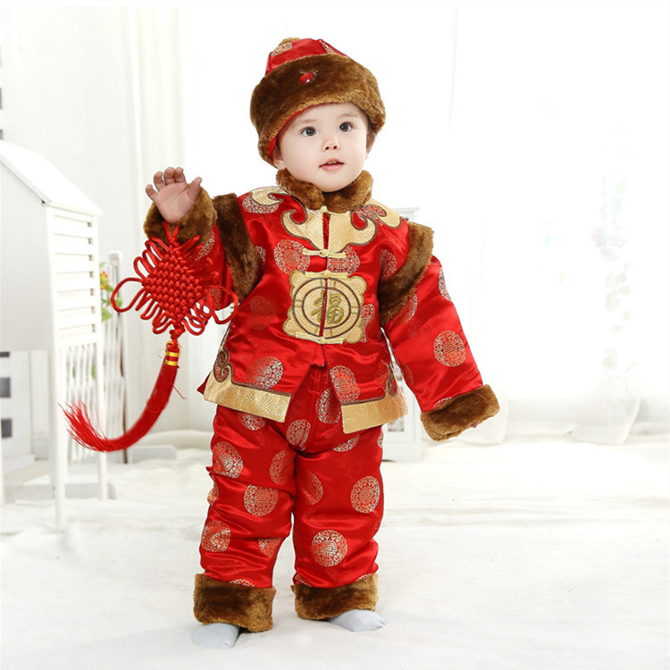 Long Sleeve Cotton Baby Chinese Traditional New Year Clothes for 0-2 Years Children Winter Thick Top+Pant Tang Suits new the european ce standards pp plastic baby walkers scooters musical scooter for children 2 years of age or older
