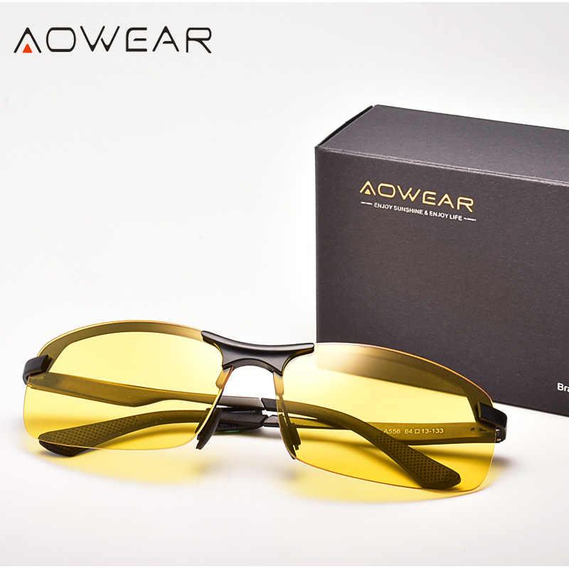 AOWEAR الألومنيوم ليلة نظارات للقيادة مكافحة وهج للرؤية الليلية سائق نظارات الرجال الاستقطاب الأصفر نظارات عالية الجودة حملق