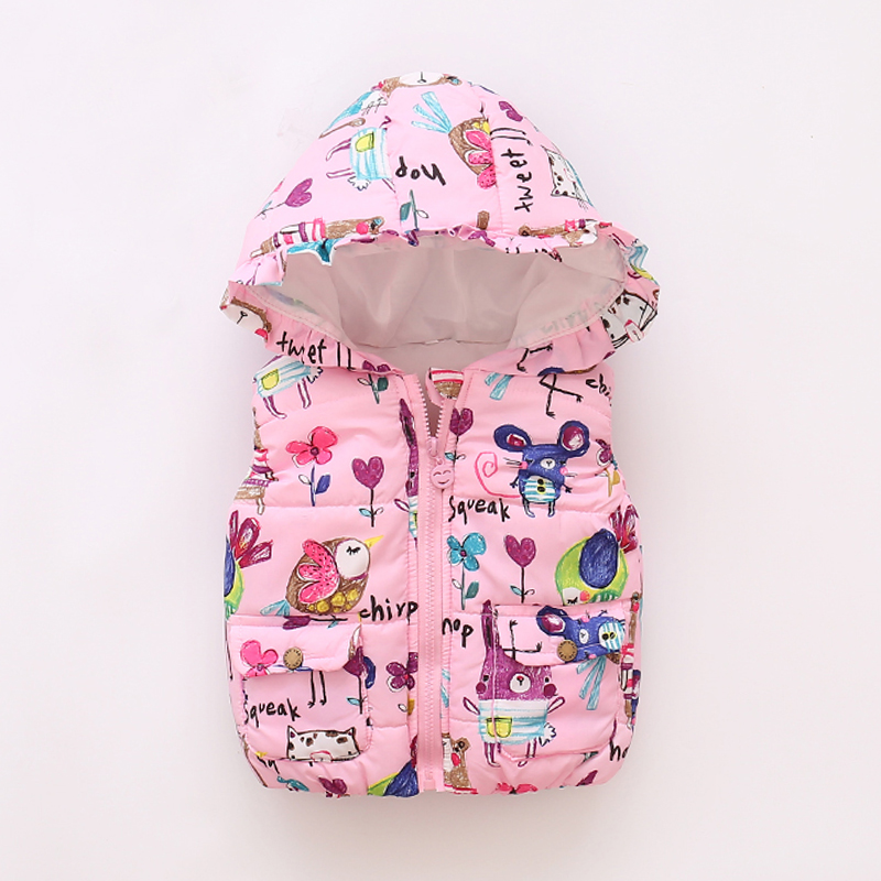 Fashion Baby Girl Warm Waistcoat 2017 Winter Outerwear Vest Coats Animal Graffiti Girls Hooded Kids Jackets Clothing