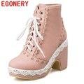 Egonery sapatos 2017 das mulheres da forma ankle boots estilo doce de alta qualidade cut-out saltos quadrados sapatos de equitação equestre rodada do dedo do pé