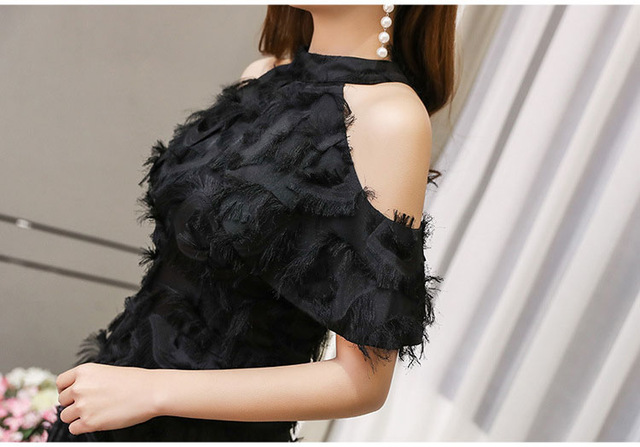 Spring Summer Dress Korean Women Elegant Feather Tassel Cape Style Sexy Cold Shoulder Party Dress White Black Dames Jurken