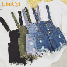 CbuCyi New Vogue Women Denim Playsuits Salopette Straps Cotton Short Romper Loose Casual Overalls Shorts Rompers Ladies Playsuit(China)