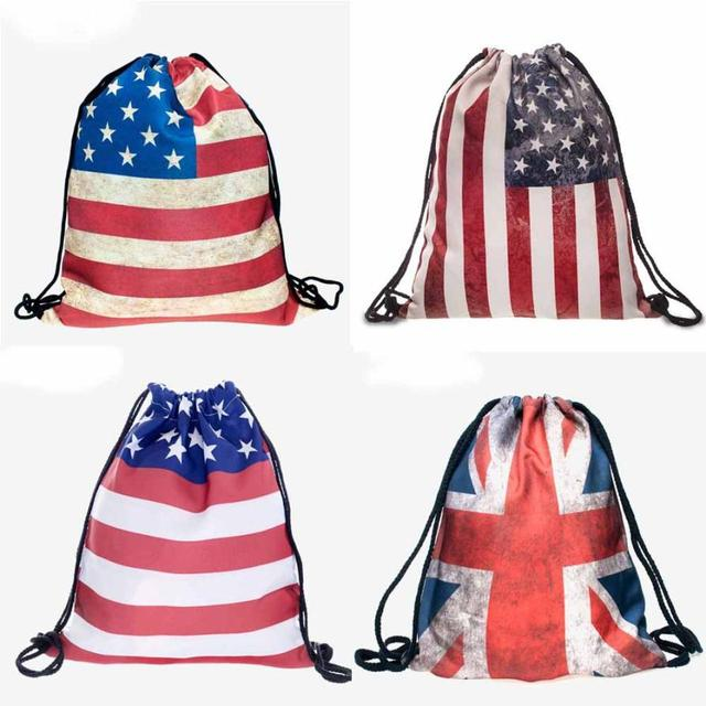 3D Fashion Flag Drawstring Bag
