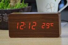FiBiSonic מפעל עץ שעונים מעוררים,מדחום עץ LED שולחן שעונים עם צלילים שליטה ,מספרים גדולים שעון דיגיטלי