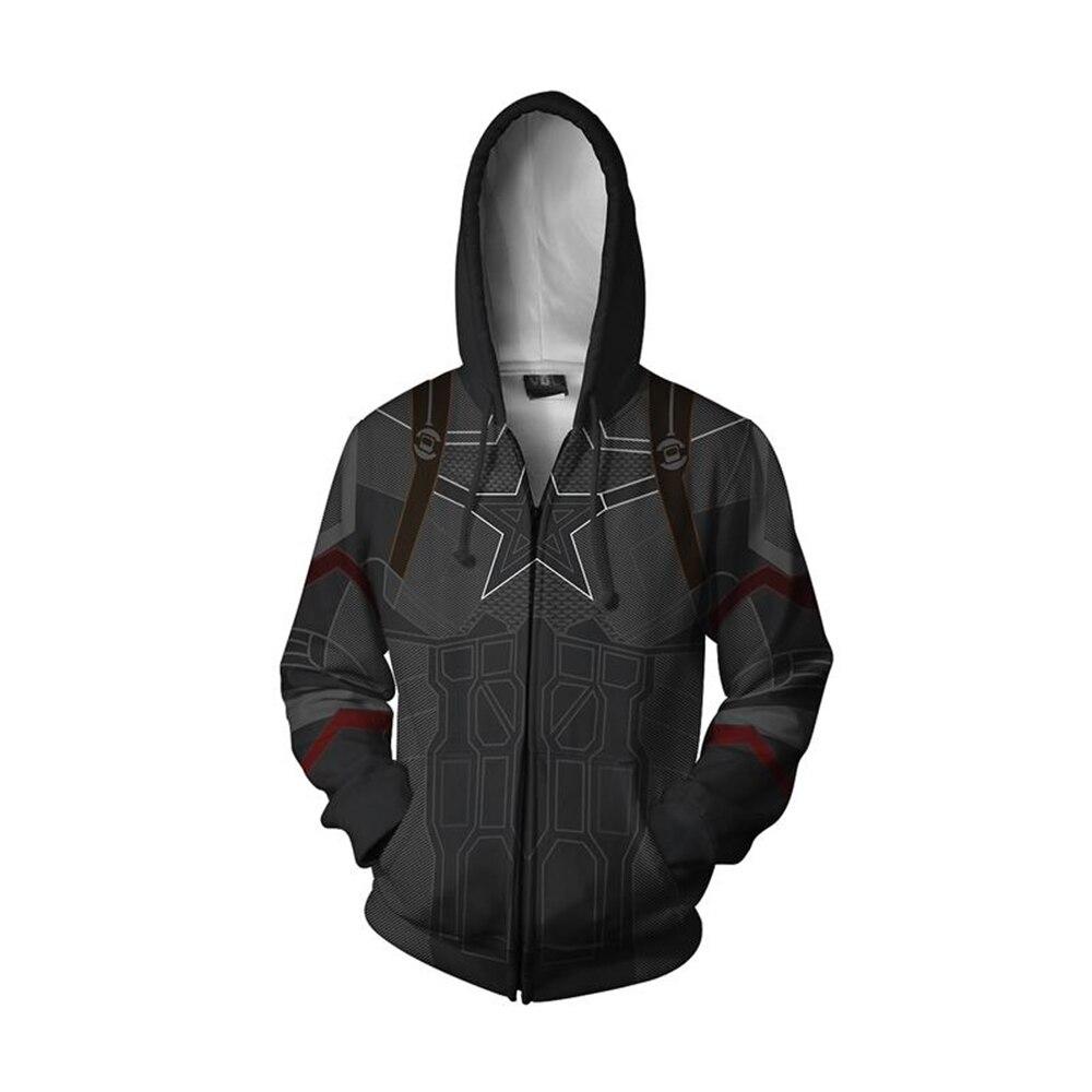 Captain America Cosplay Hoodie Long Sleeve Zipper Sweatshirt Men Women Adults Hooded Jackets Cosplay Costume Hip Hop Streetwear