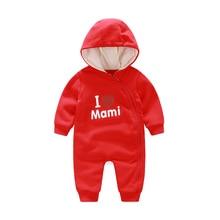 цены на YiErYing Baby Clothes Autumn Winter Letter Print Baby Romper Long Sleeve Hooded Newborn Jumpsuit Infant Clothing Set  в интернет-магазинах