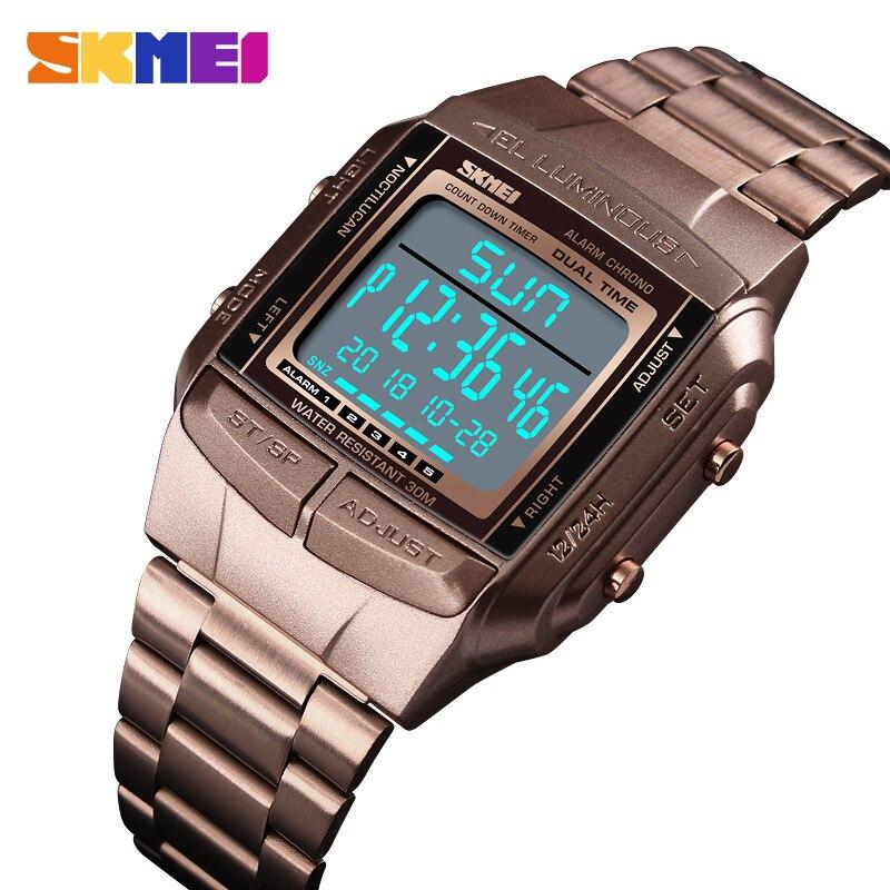 SKMEI новый бренд мужские спортивные часы Открытый водонепроницаемый электронный светодиодный цифровой наручные часы для мужчин полностью С
