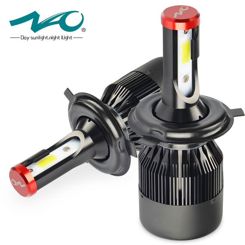 NAO auto H4 led 12V bulb car light 6000K 72W hb2 9003 automobiles lamp High low Beam motorcycle Automotive led h4 headlights K1 1pair car led headlight h4 hi lo beam 72w fog driving lamp led headlights car 9003 hb2 high low beam bulb auto led headlamps