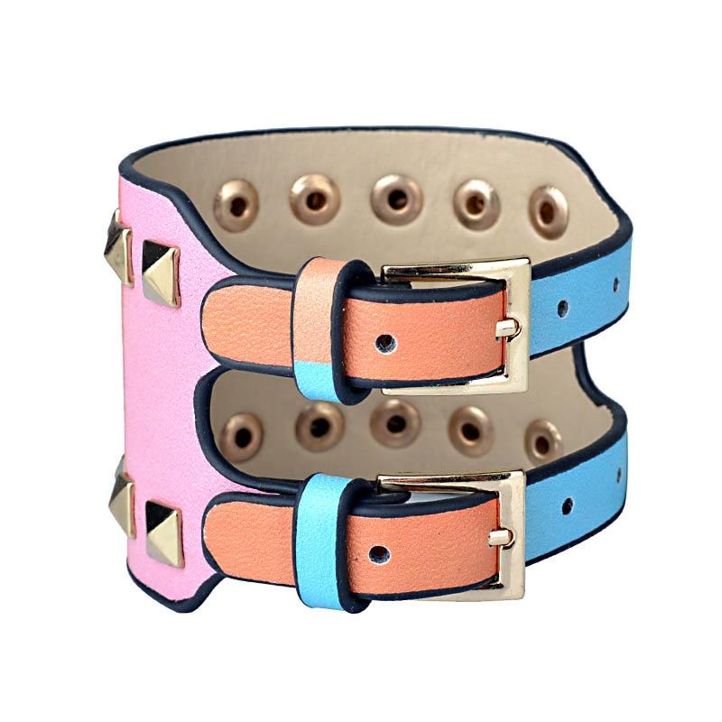 Kirykle-bracelet en cuir pour femmes, bijou Punk classique, nouveau Style, breloque multicolore, à rivets larges, à la mode 2