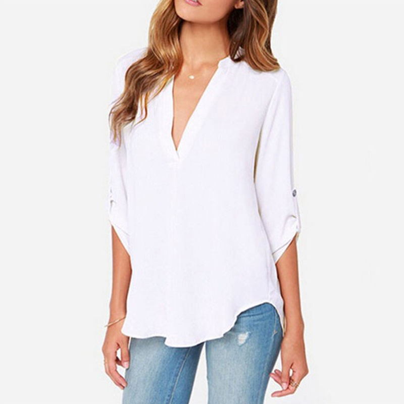 HTB1HsVhCQSWBuNjSszdq6zeSpXan - Autumn Women V-neck Chiffon Blouse 3/4 Sleeve Female Solid Casual Shirt Large Size Feminina Camisas Blusas Plus Size