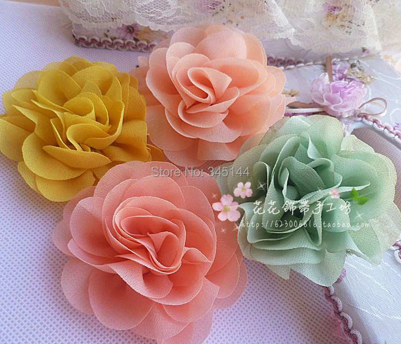 artificial flowers silk DIY clothing Hair accessories corsage, 8 cm chiffon wedding holding - shelly mai's store