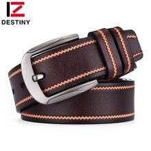 DESTINY Newest Belts Men High Quality Male Genuine Leather Strap Famous Designe Brand Belt Jeans Wedding Stripe Leisure ceinture