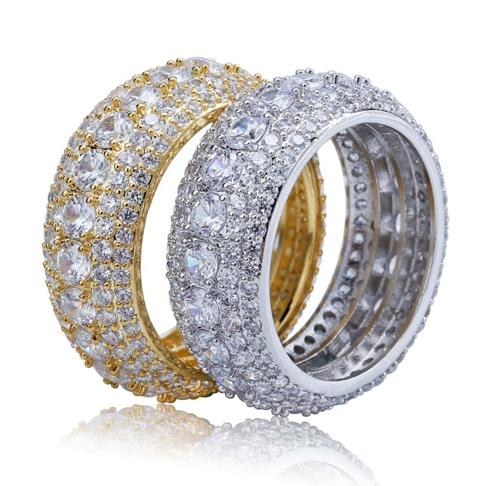 Hot DealsTOPGRILLZ Ring Jewelry-Rings Gifts Cubic-Zircon Iced-Out Bling Gold-Silver-Color Men's