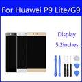 Alta Qualidade de Ouro Branco Preto Cor 5.2 ''Display LCD + tela de toque digitador assembléia sem quadro para huawei p9 lite lcd